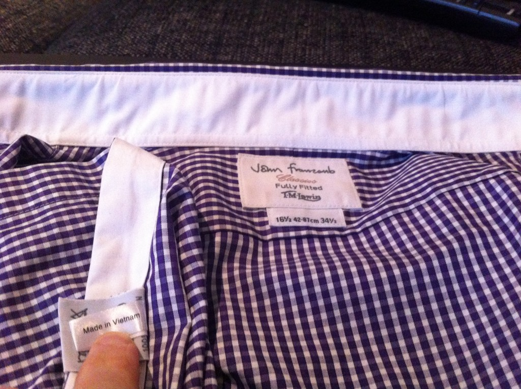 This image is part of the TM Lewin review and shows the TM Lewin label, showing the TM Lewin shirt is made in Vietnam.