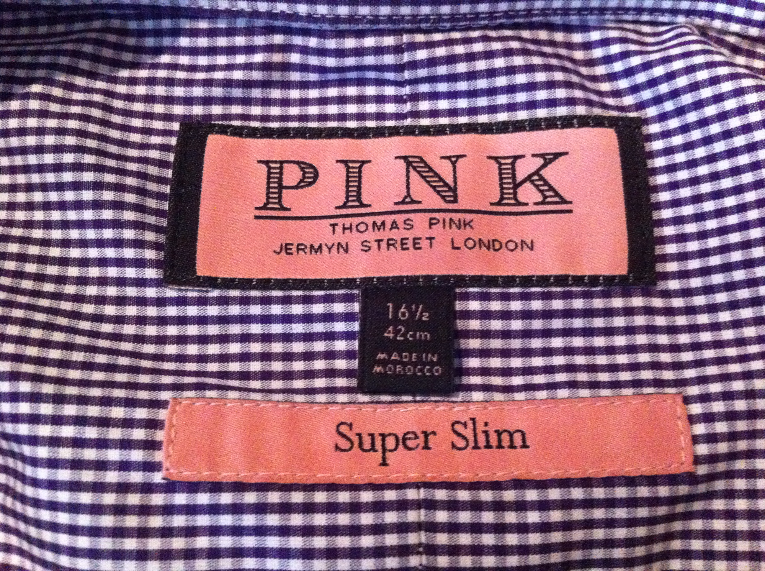 Thomas Pink Review - detailed garment sizing information
