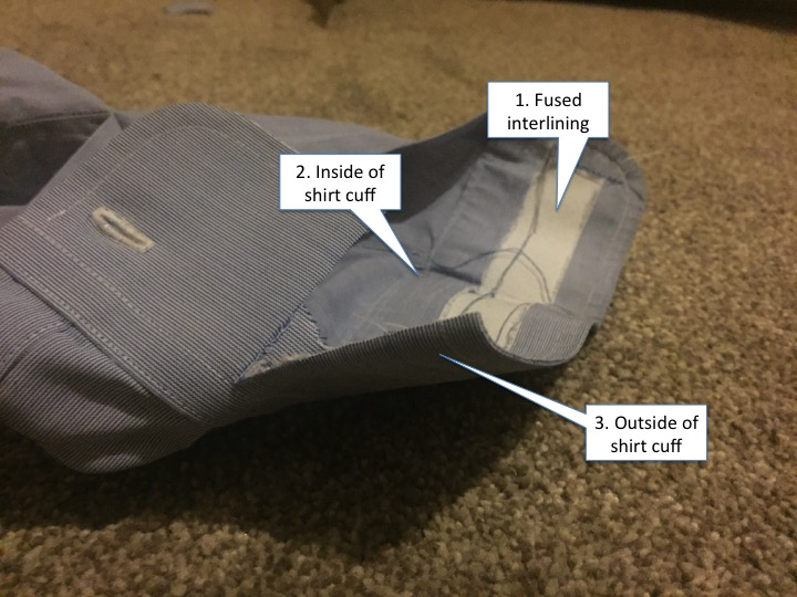 This image shows a cutaway view of the Brooks Brothers cuff, showing how it's constructed