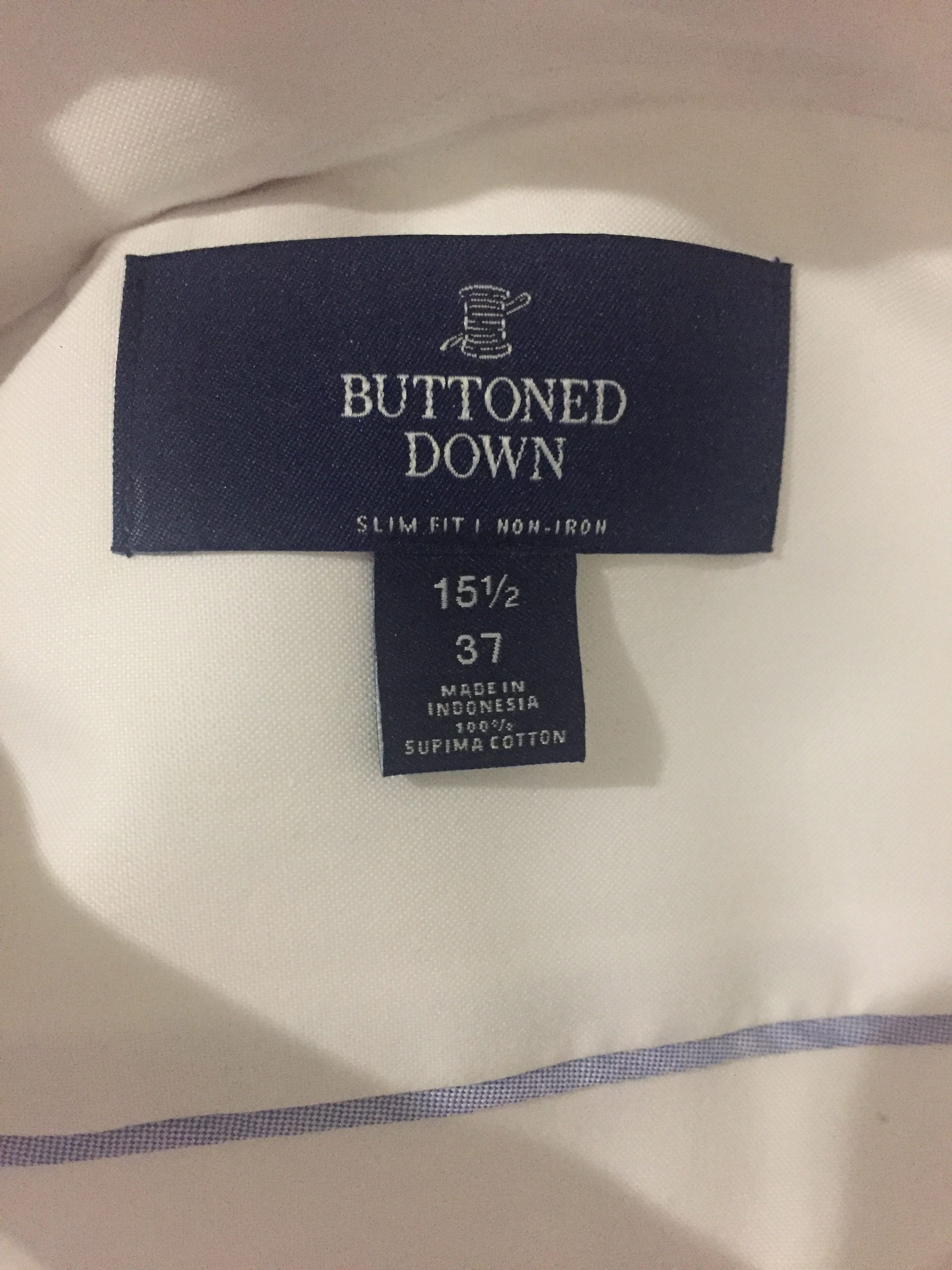 Amazon Buttoned Down shirt fit guide - label picture