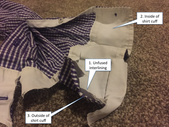 This image is part of the TM Lewin review and shows how the TM Lewin cuff is made, showing the unfused interlining.