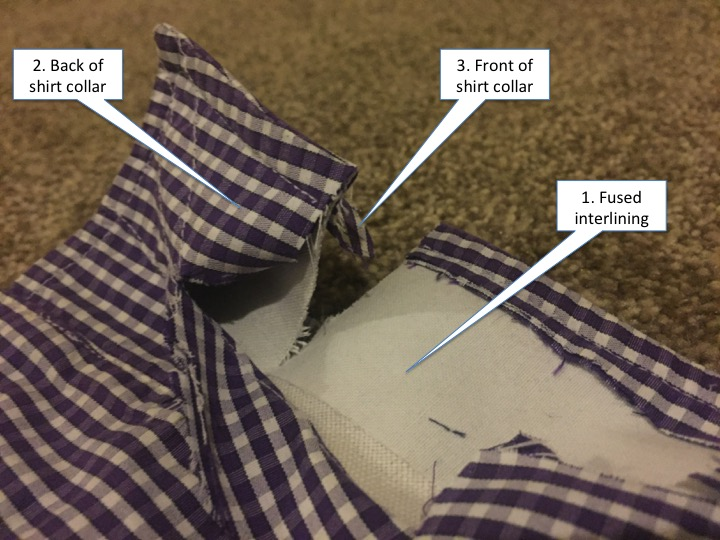 This image is part of the TM Lewin review and shows how the TM Lewin collar is made, showing the unfused interlining.