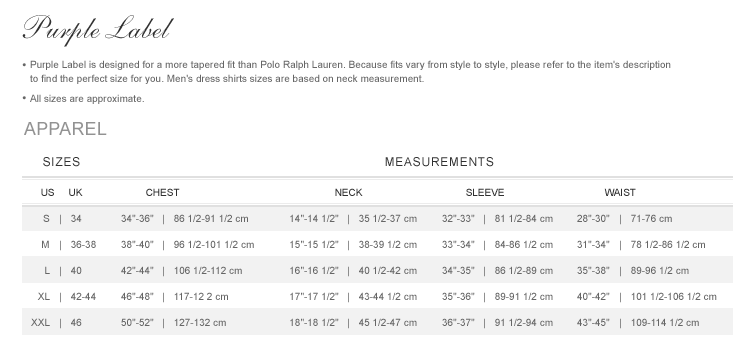 This image is part of the Ralph Lauren review and contains detailed garment measurements